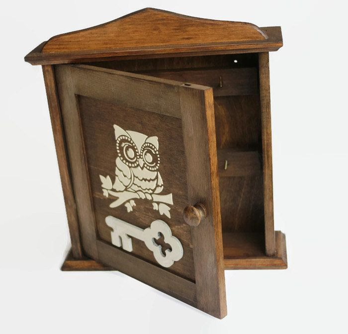 Owl Key Cabinet Wooden Key Holder White Owl Owl Key Box Cabinet Key  Organizeru2026