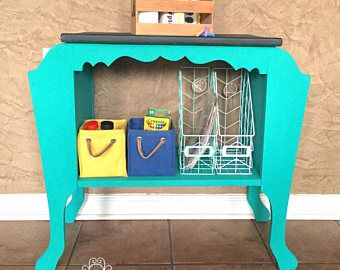 Vintage Magazine Table Flipped Into A Childs Art Desk Organization Station Chalkboard Top Heirloom