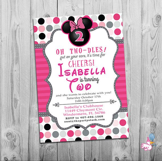 Minnie Mouse Birthday Invitations Printable by thepartystork – 2 Year Old Birthday Invites