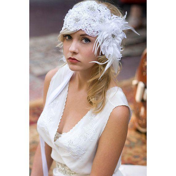 SAMPLE SALE 1920's Bridal lace cap hair by EricaElizabethDesign, $125.00