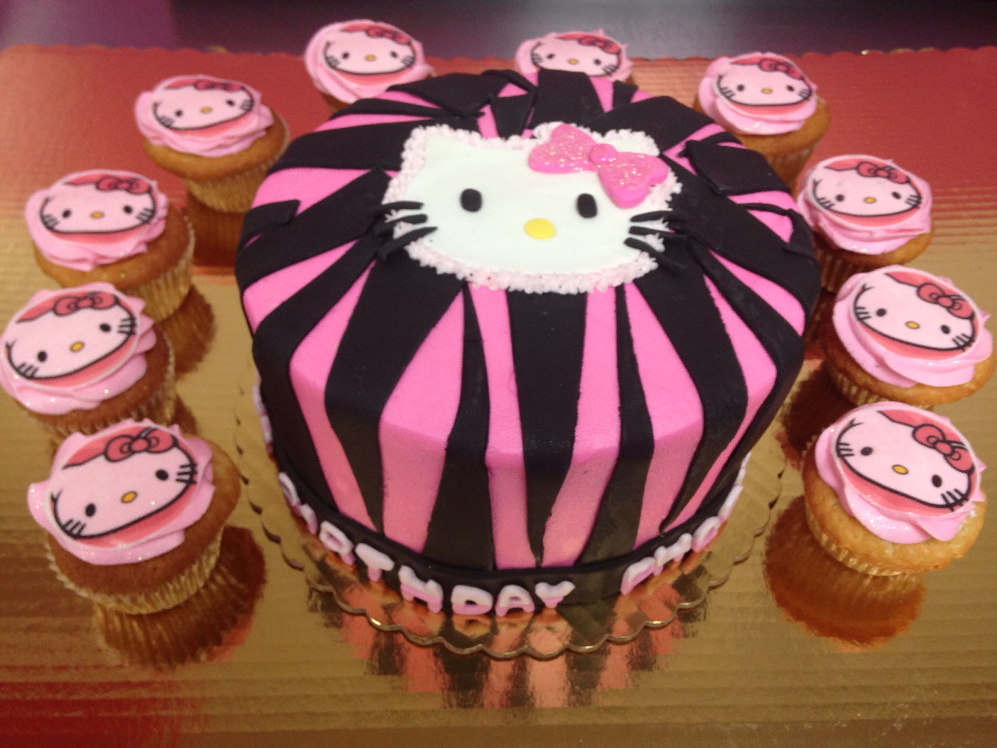 Hello kitty birthday cake and cupcakes Cupcakeology custom cakes