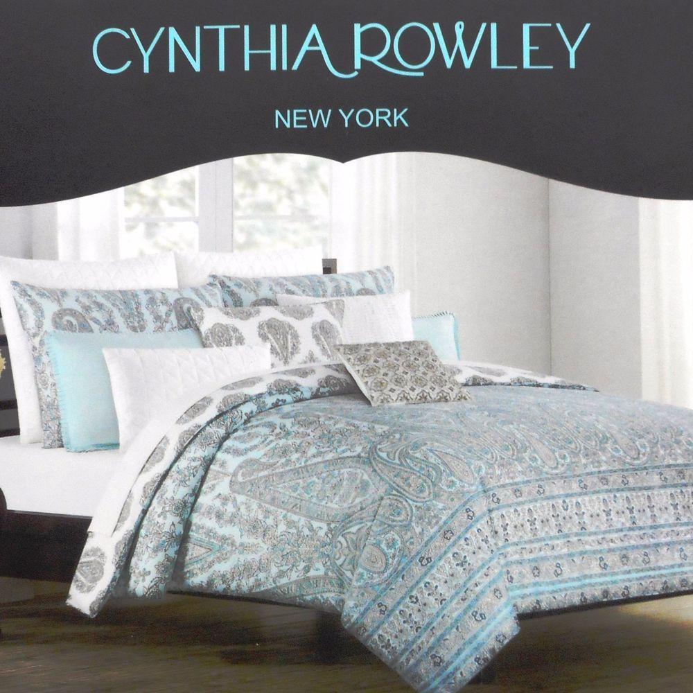 Cynthia Rowley Floral Queen Duvet Cover Set Paisley Cotton White