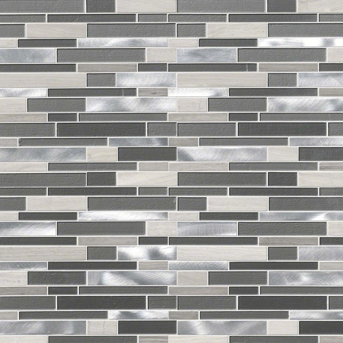 Urban Loft Interlocking Pattern 4mm Metal Mosaic Tiles Gray Kitchen Backsplash Minimalist Kitchen Design
