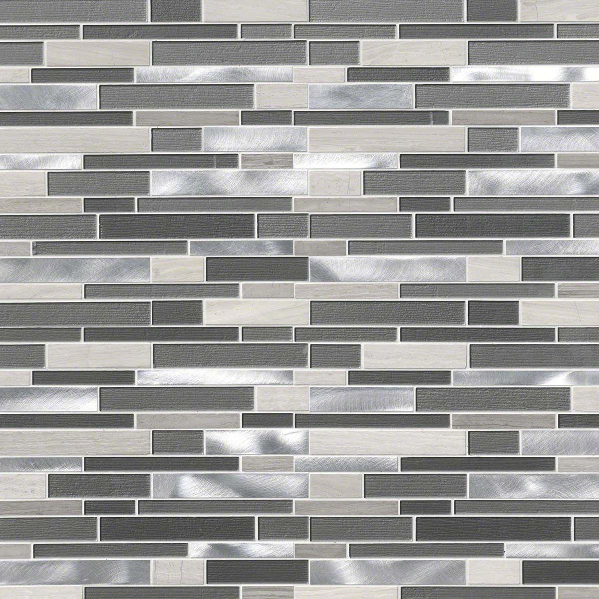 Urban Loft Interlocking Pattern 4mm Metal Mosaic Tiles Gray Kitchen Backsplash Minimalist Kitchen Design