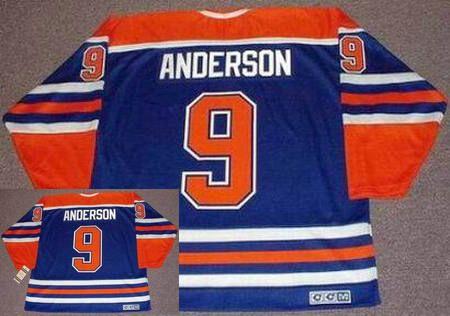 Edmonton Oilers Mens Jersey 9 GLENN ANDERSON Blue 1987 CCM Vintage Throwback Home NHL Jersey