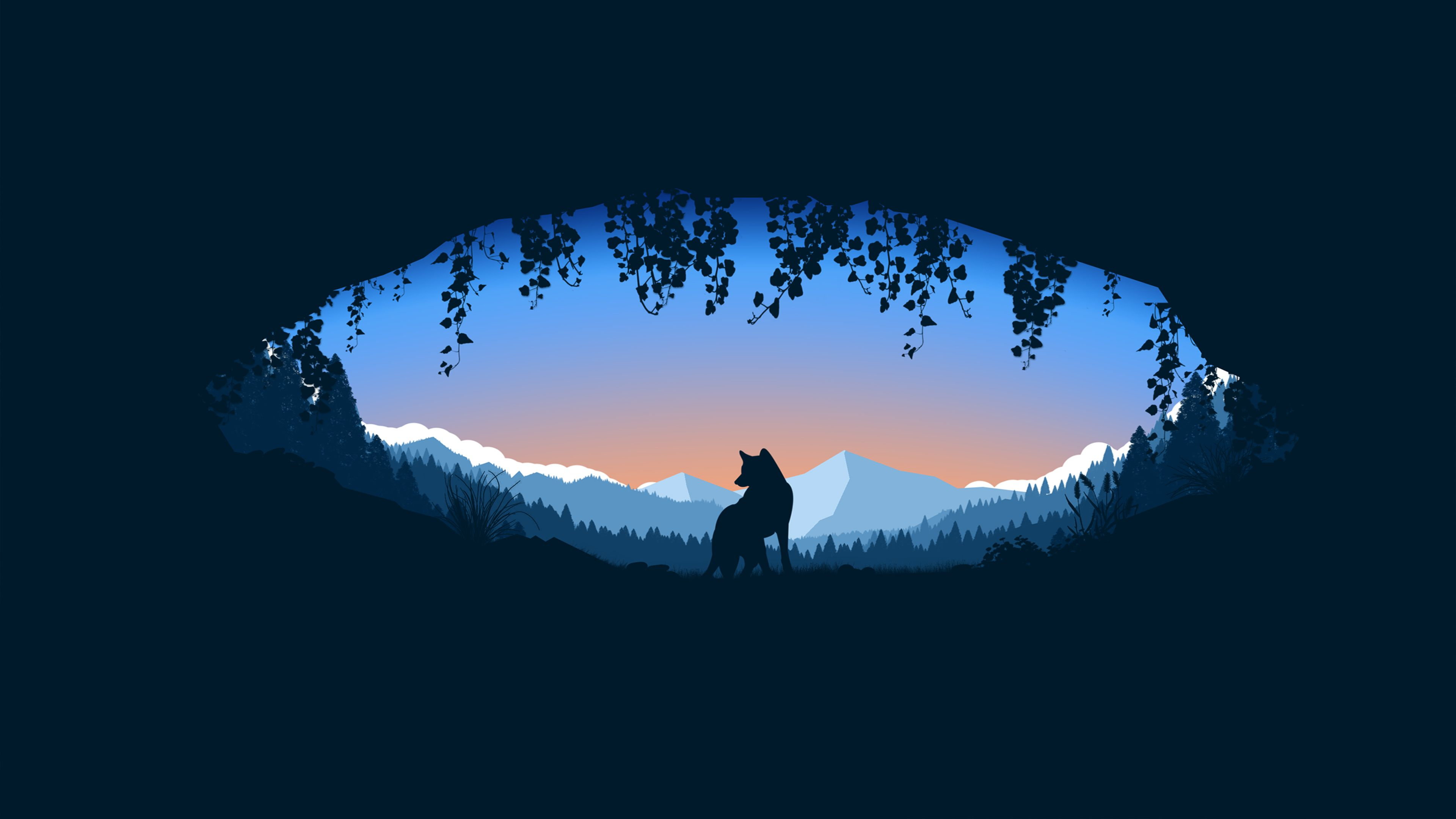 Animated Wolf Cave Minimalist 3840 X 2160 Minimalist Wallpaper Wolf Wallpaper Art Wallpaper