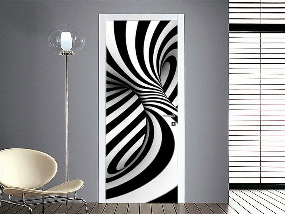 adesivo per porte con vortice bianco e nero glass art and doors