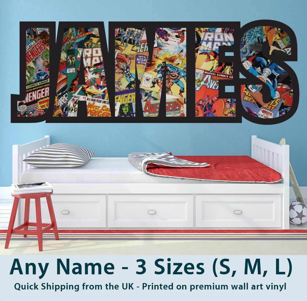 Childrens Name Wall Stickers Art Personalised Avengers/Marvel Boys ...