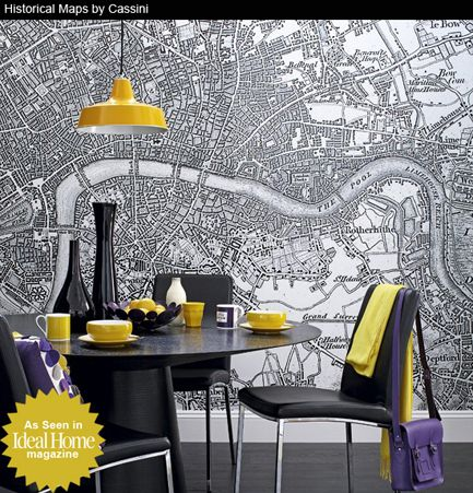 Printed Space London Map on wallpaper wall to wall