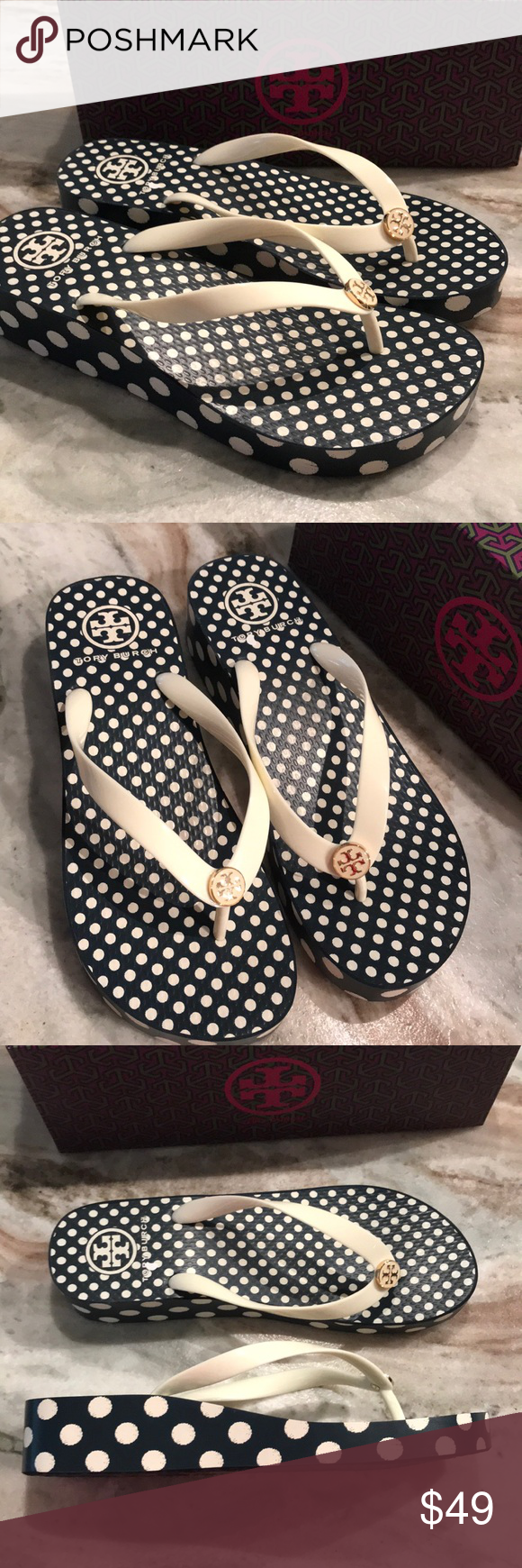 55915d230abc NIB TORY BURCH WEDGE FLIP FLOPS sz 9 10 AUTHENTIC AND BRAND NEW IN BOX SIZES