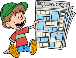 Image result for Image result for boy reading newspaper comics clipart