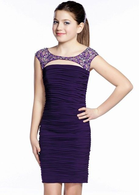 Lexie By Mon Cheri Tw21532 Girls Cap Sleeve Jersey Dress Girls