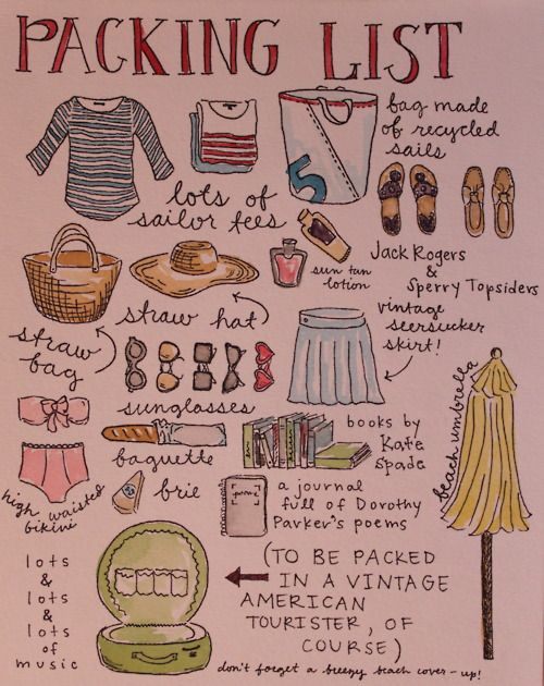 Love visual lists! | Packing list, Summer packing, Summer