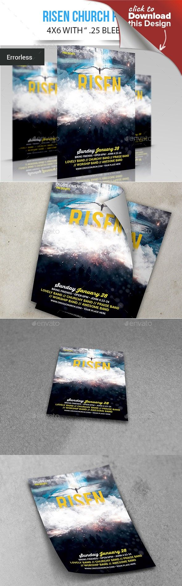 Risen | Flyer layout, Print fonts and Template