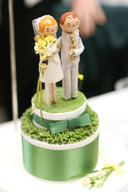 Clothespin people wedding cake toppers!