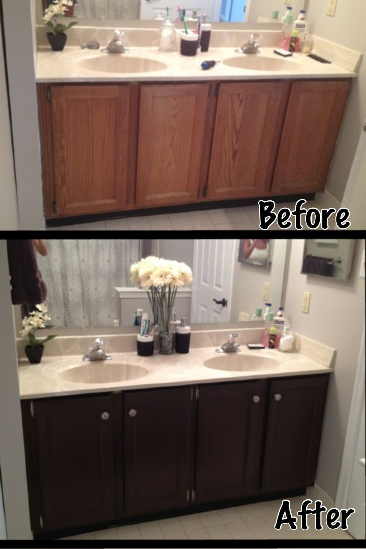 I M So Proud Of Myself For This Project It S Amazing What A Little Bit Of Paint Bathroom Makeovers On A Budget Bathroom Remodel Master Small Bathroom Makeover