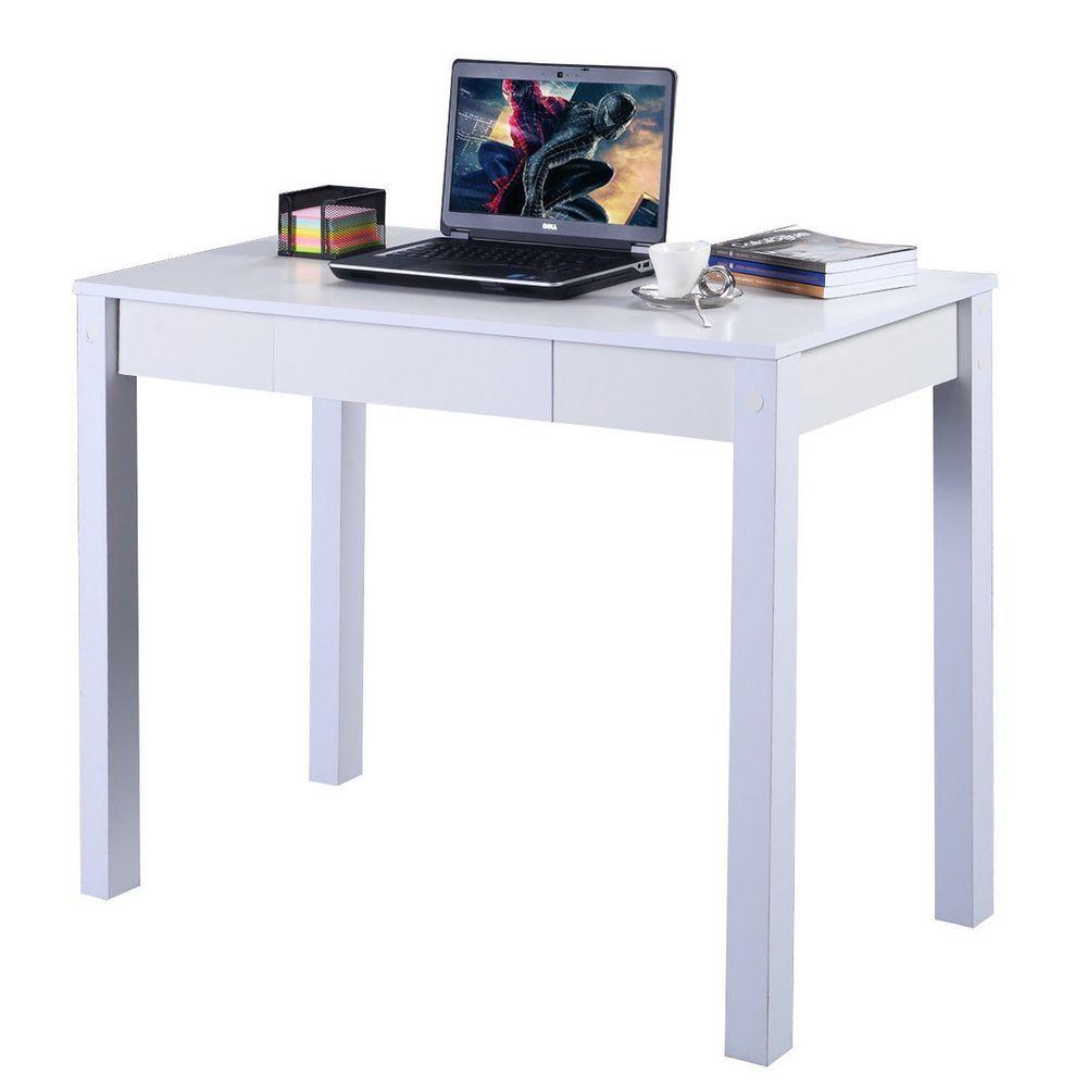 Small White Study Desk Computer Table Drawer Modern Decor ...