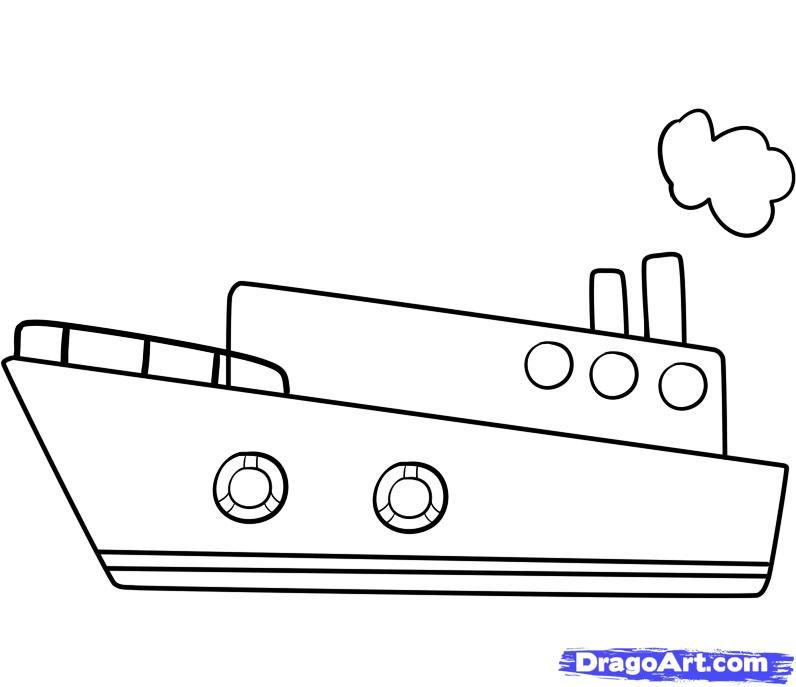 simple boat drawing draw a ship step by step boats transportation - Free Online Drawing For Kids