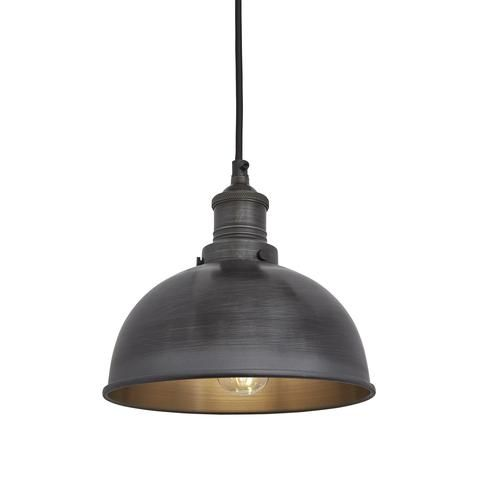 brooklyn vintage small metal dome pendant light dark pewter 8