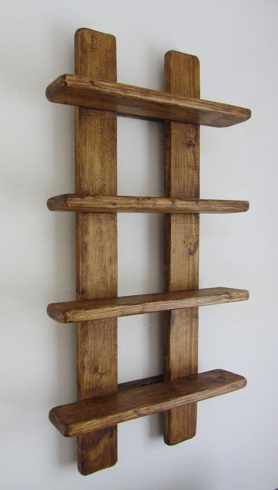 75cm Tall Shabby Chic Rustic Reclaimed Wood 4 Tier Floating Shelf Trinket Shelves Display