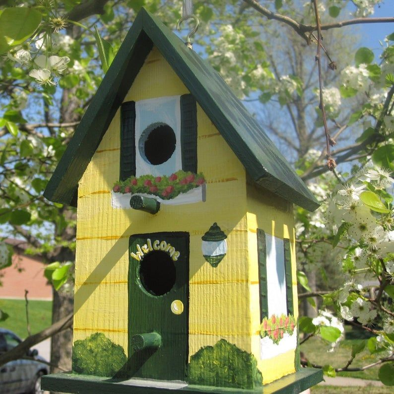 Match Your Home Hand Painted Personalized Decorative Birdhouse Etsy Bird Houses Painted Decorative Bird Houses Hand Painted Birdhouses