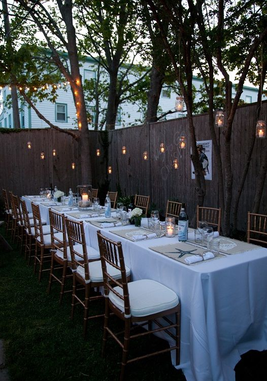 Awesome Small Wedding Dinner Party Ideas Part - 1: Backyard Dinner Party-- For One Day When I Have A Backyard. The Lights Give  It A Lovely Touch.