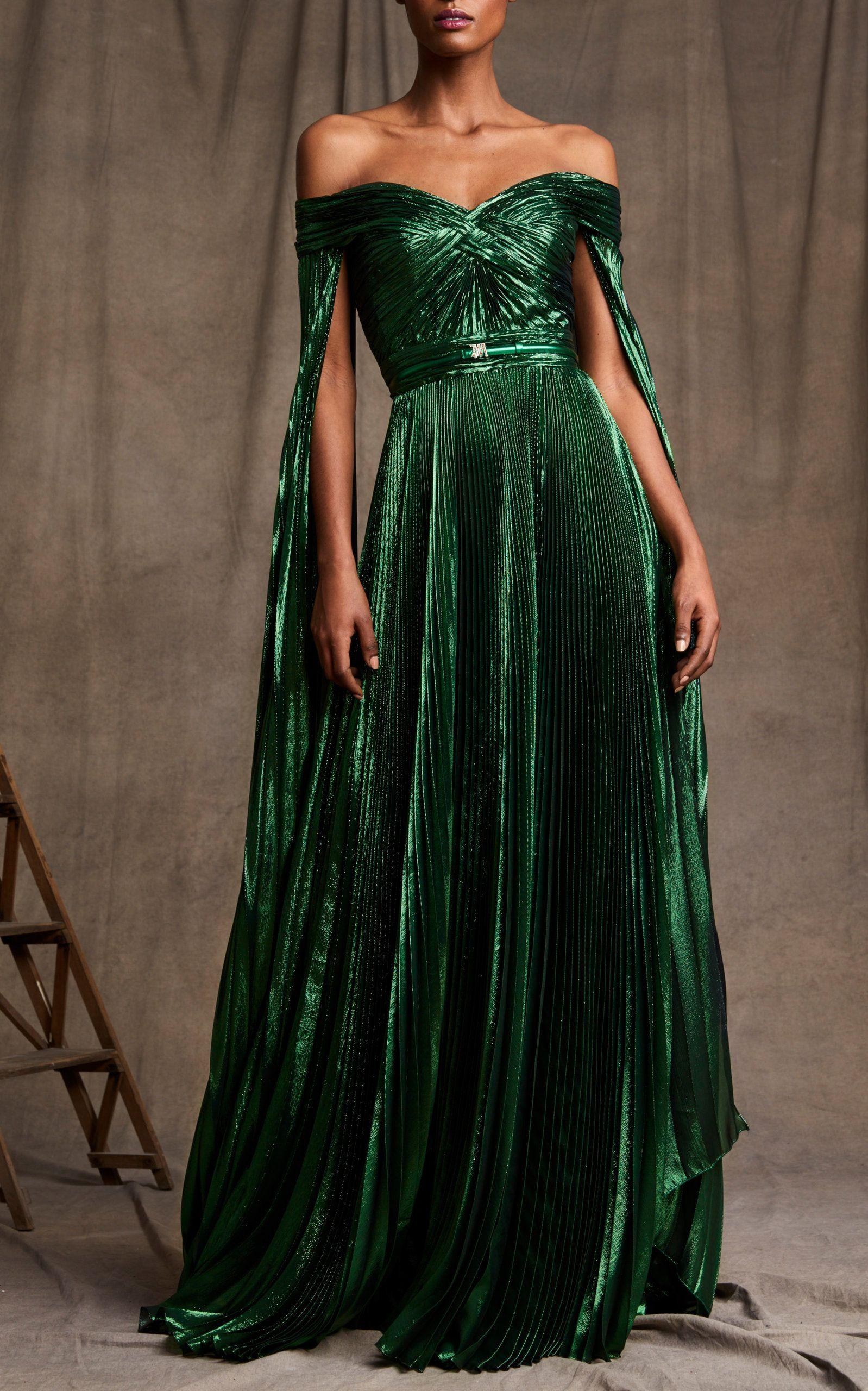 Off The Shoulder Metallic Silk Blend Plisse Gown By Zuhair Murad Moda Operandi Ball Dresses Pretty Dresses Beautiful Dresses [ 2560 x 1598 Pixel ]