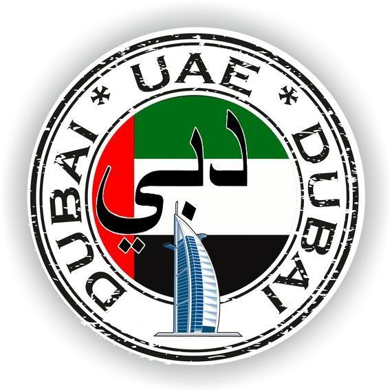 EAU Dubai Sello pegatina bandera redonda para el ordenador portátil libro nevera Guitarra motocicleta casco ToolBox Puerta PC Barco