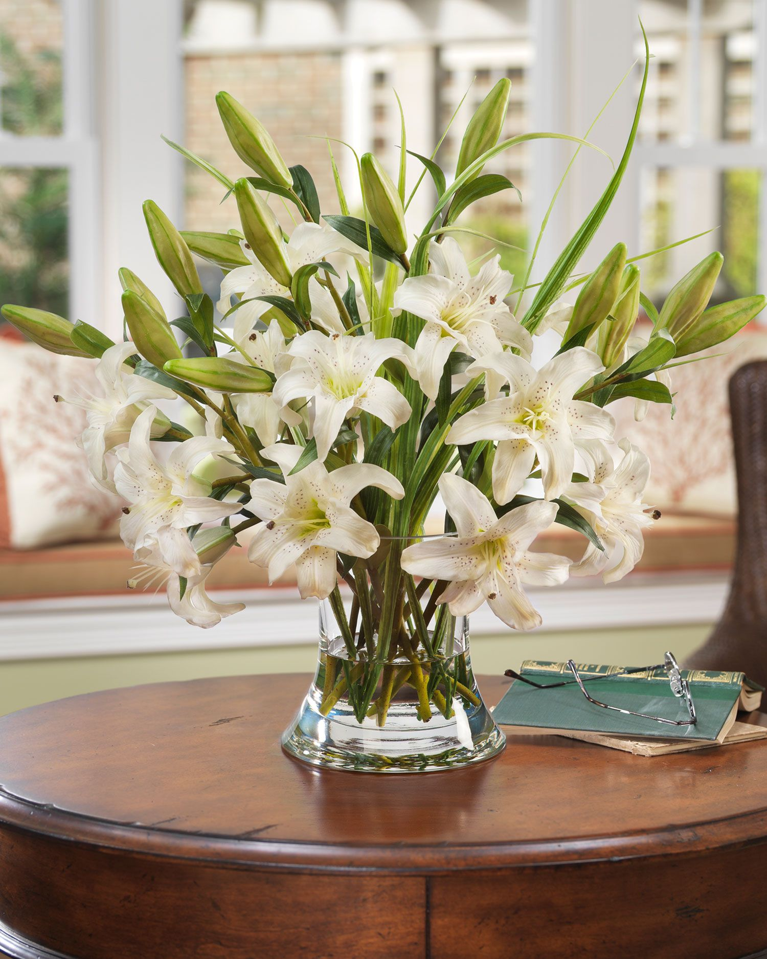 Real touch large white lily centerpiece with blades of