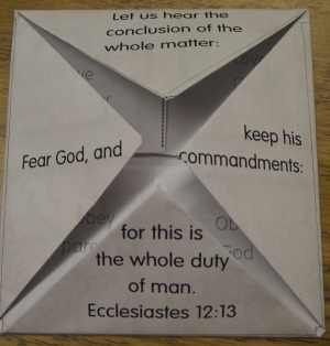 Lesson 12 ecclesiastes 12 13 fold able craft activity for Job bible lesson craft