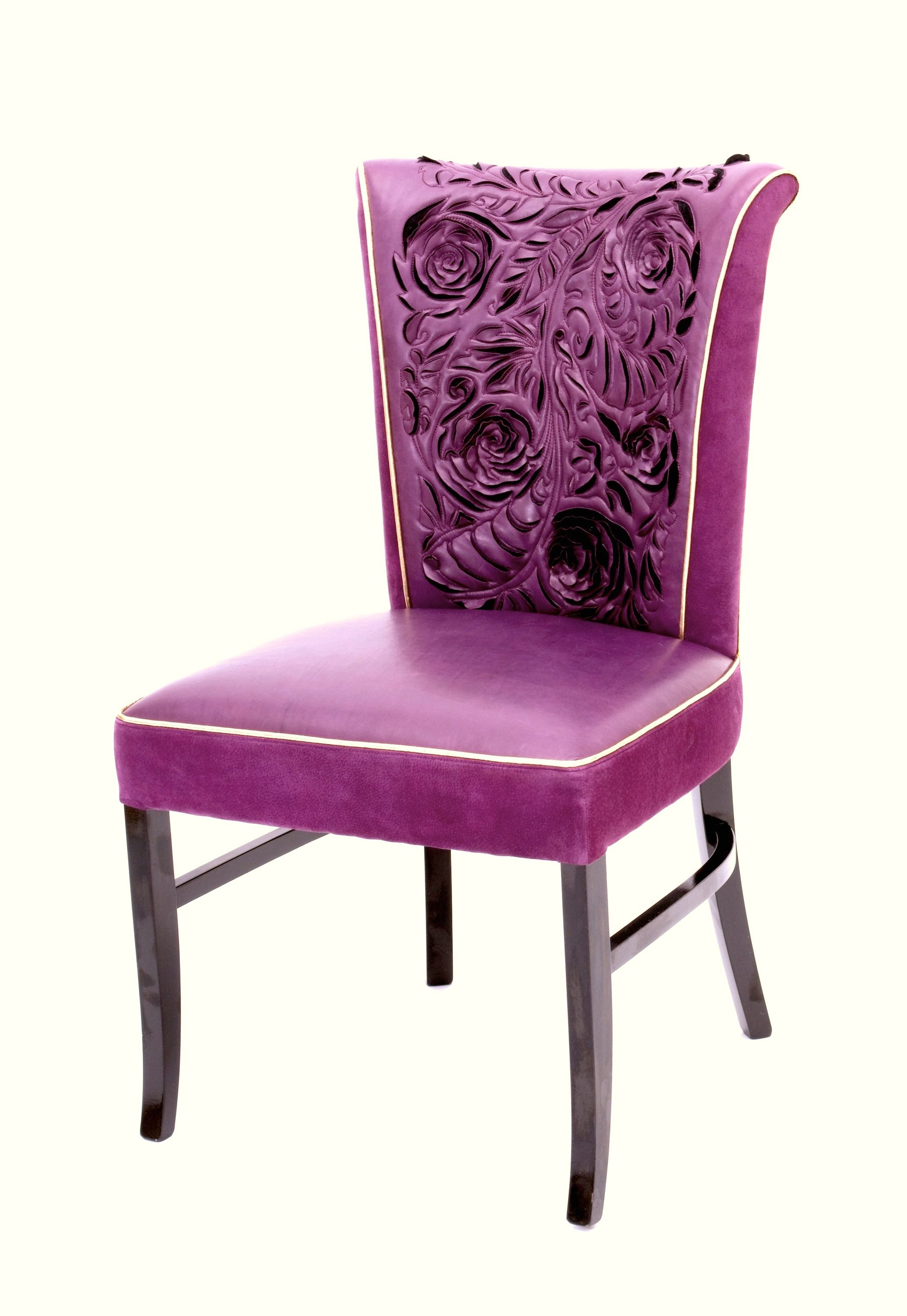 Purple suede and leather chair with gold piping | Leather ...