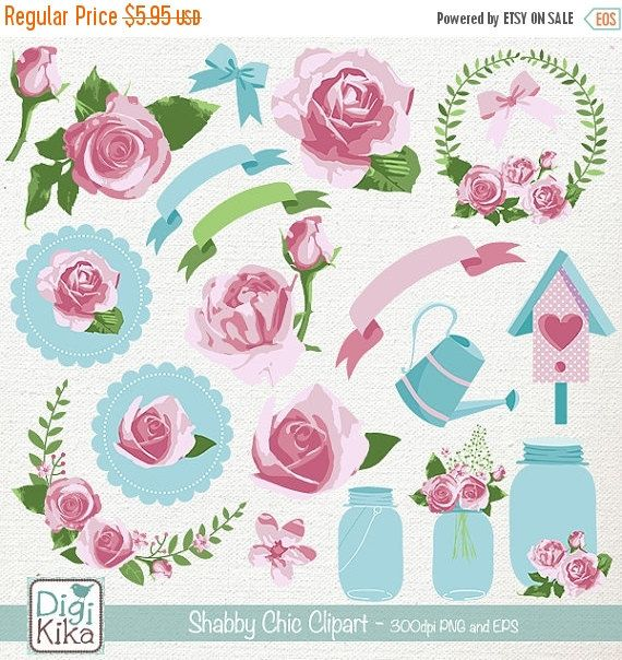 70 Sale Shabby Chic Clipart Rustic Wedding Clip Art Floral Vector Graphics