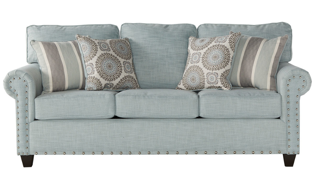 Null Nailhead Sofa Living Room Furniture Sofas Blue Reclining Sofa