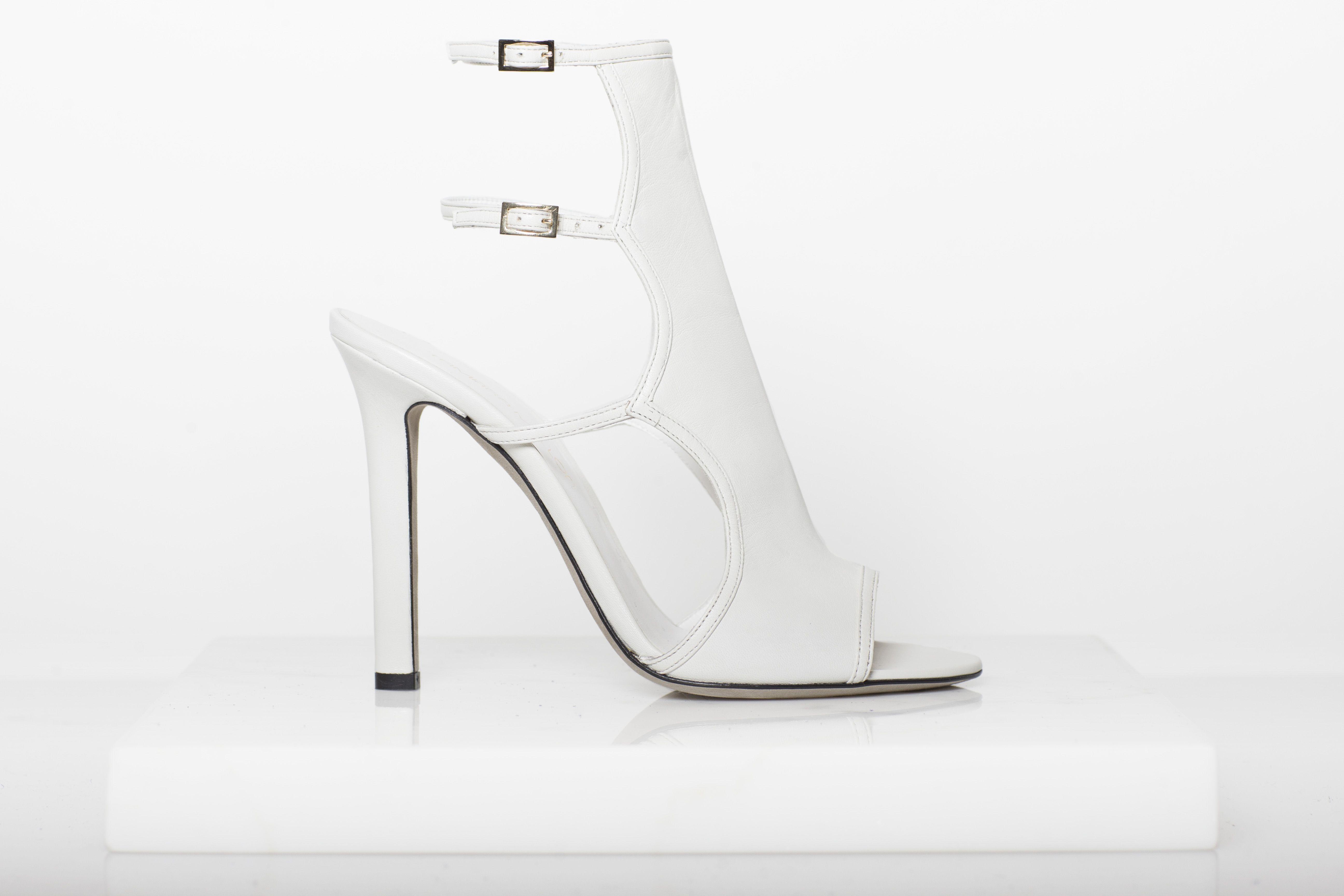 Bad Girl Open Toe Sandal Bootie in Cream #Sandal #Bootie #White #TamaraMellon