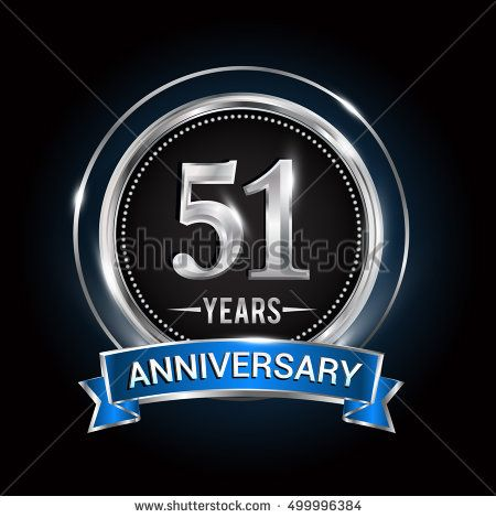 51 years anniversary logo with silver ring and blue ribbon vector anniversary logo with silver ring combination blue ribbon vector template for birthday celebration party wedding invitation and greeting card buy this stopboris Image collections