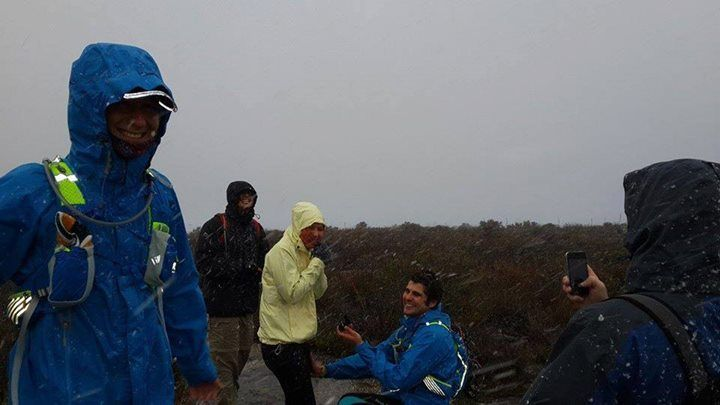 """Our first SnowReport engagement!  Daphne says """"Jarryd Buratovich proposed to Erin Fick on top of Table Mountain this morning in the snow fall - all beautifully romantic but freezing cold. And she said YES!"""""""