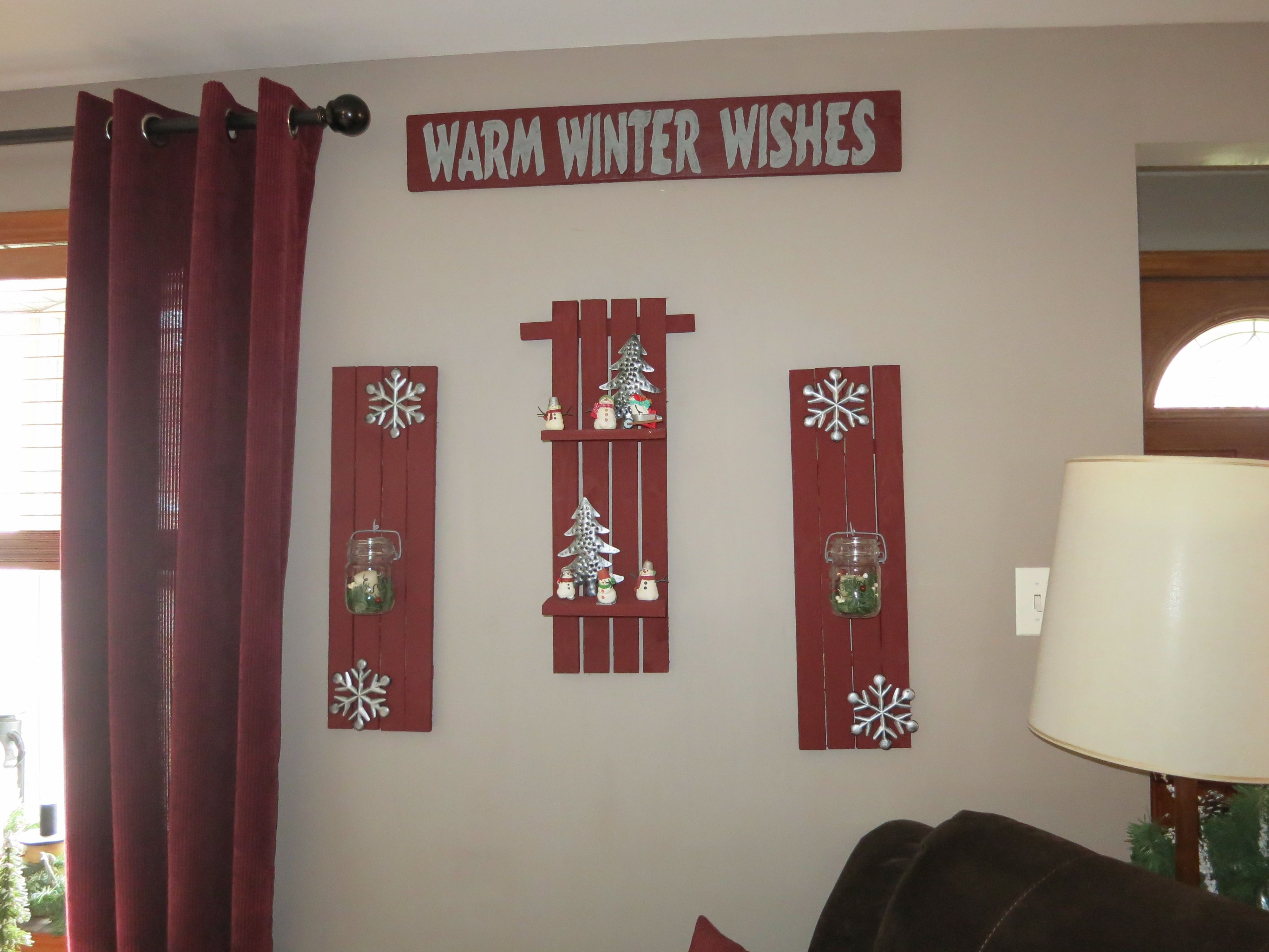 shelves from pallet wood metal snowflakes and trees from ...