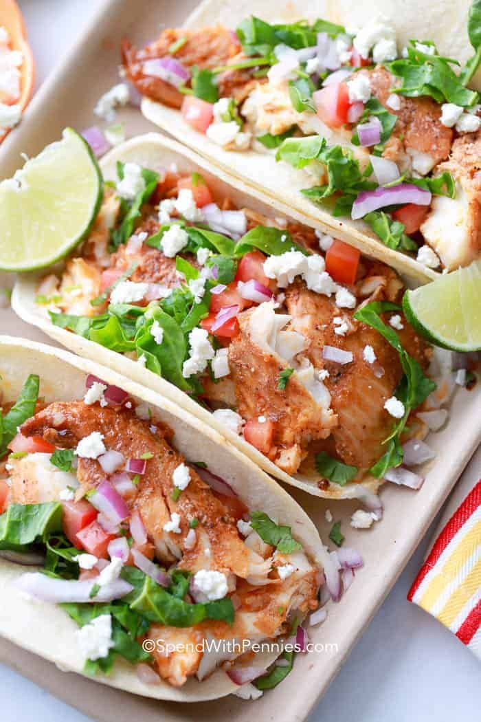 Easy Fish Tacos are the perfect weeknight meal and go from fridge to table in about 20 minutes!