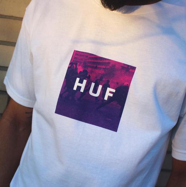e547b438 HUF Riot Box Logo Tee | Lifestyle | Box logo tee, Mens tops, T ...