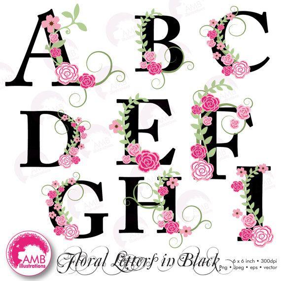 Off Floral Alphabet Clipart Alphabet Clipart Floral Clipart