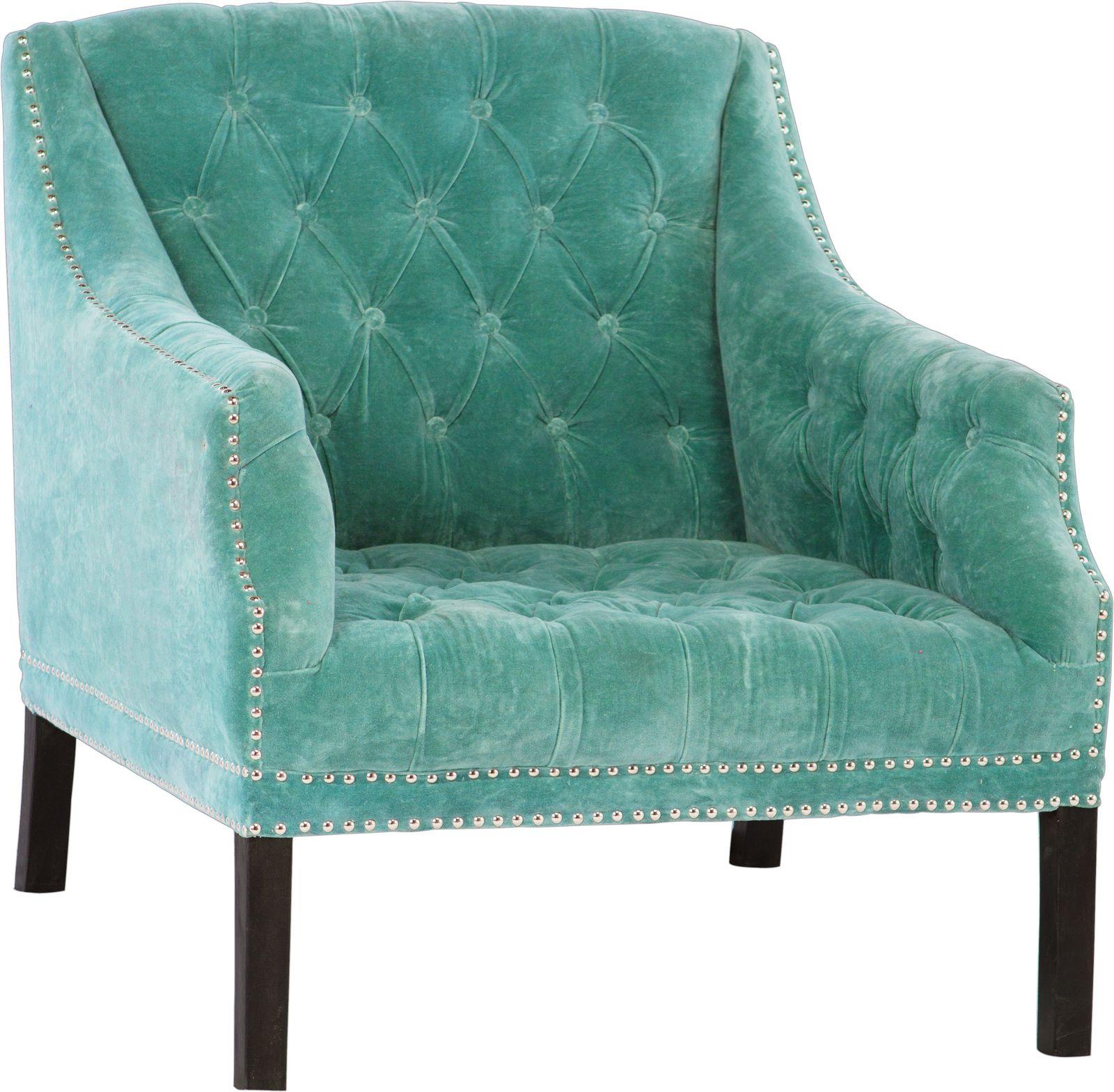 Genial Studded Velvet Armchair   Turquoise
