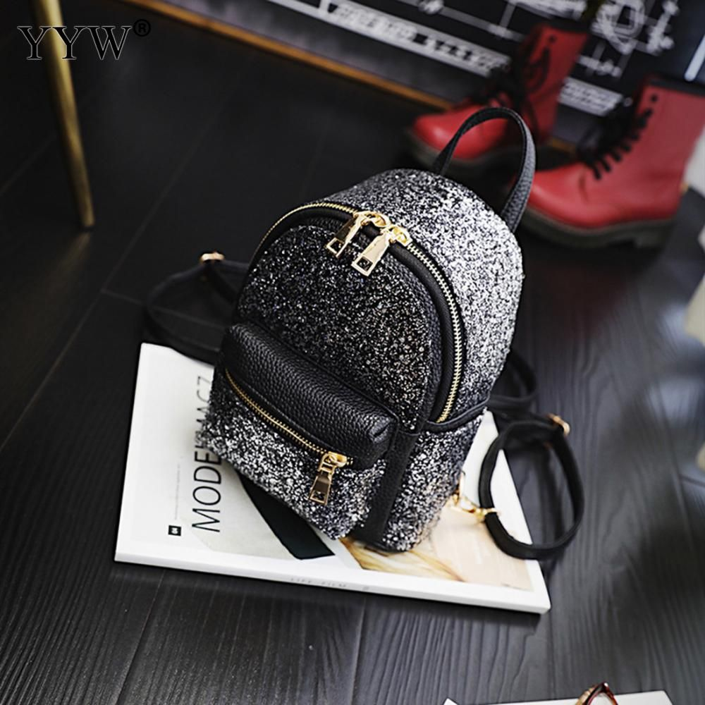 120c85a70a Unique Small Backpack Women Pu Leather Backpack Fashion Soft Shopping Back  Bags Plastic Sequins Patchwork Mini Mochila Borse