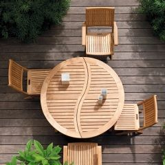 Table, chaises en teck - Jardinerie Truffaut   Viens chez moi ...