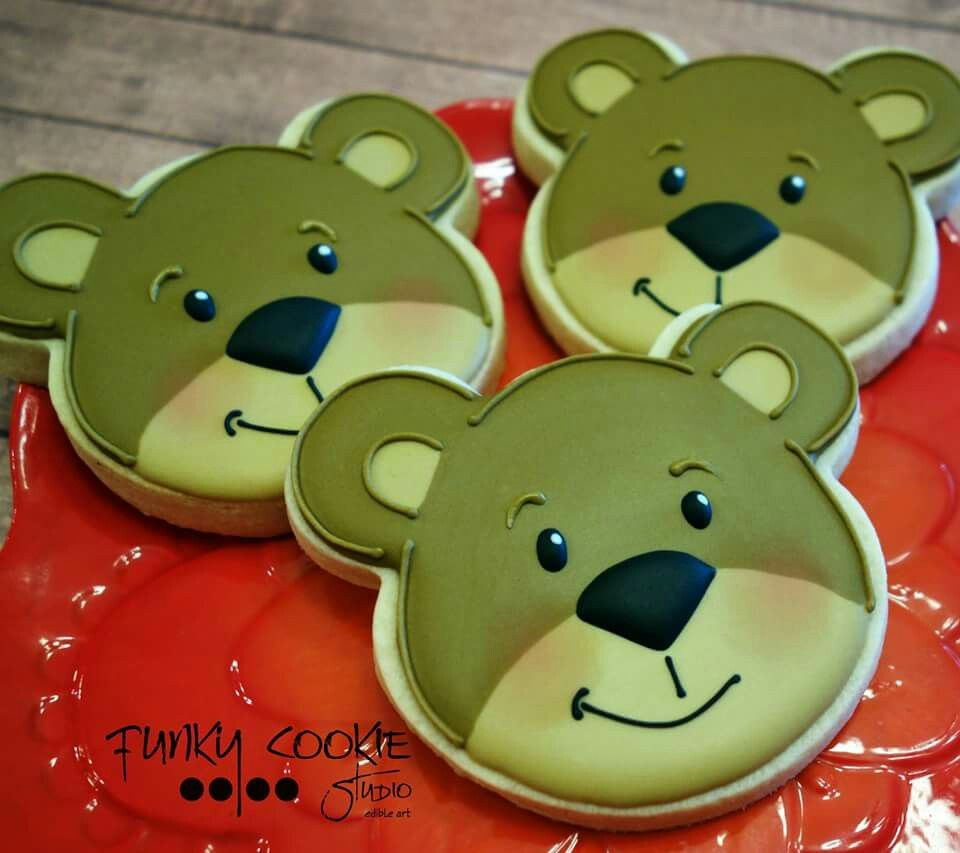 jill fcs little brown bears bear faces decorated cookies in