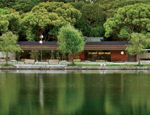 Starbucks's in-house architects, the elegant store in Ohori Park—a prized sanctuary in Fukuoka City—is meant to meld into the natural environment.