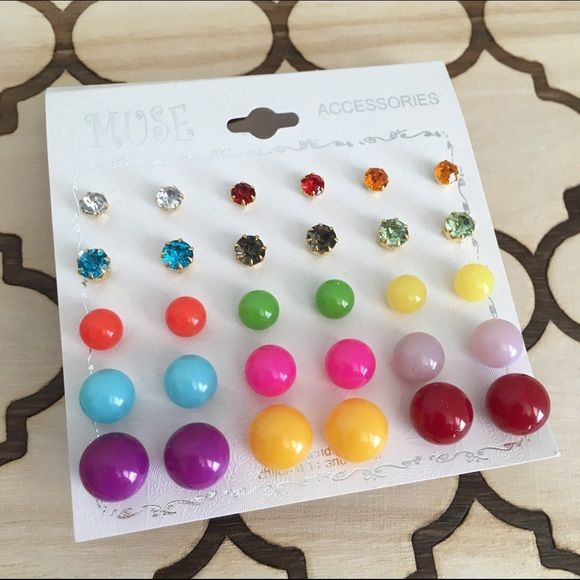 Rainbow earring set Just listed! Only ONE available This gorgeous [15 pair] earring set is brand new / comes in packaging / offers considered / bundles encouraged / thank you for shopping my closet / xx, blessings! ♥️ Jewelry Earrings
