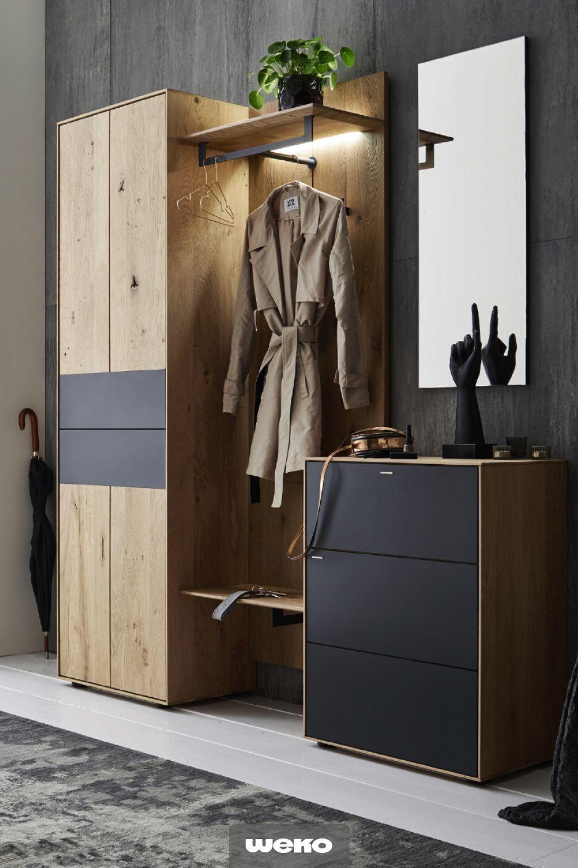 Moderne Garderobe In Kerneiche Massiv Mit Front In Anthrazit Matt