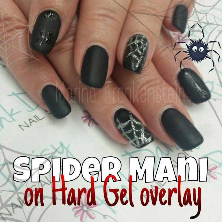 Halloween Spider Spiderweb Matte Black Nail Art Nail Design on CND ...