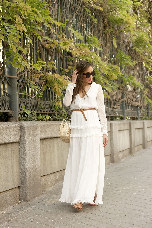 White Maxi Dress With Subtle Golden Stripes