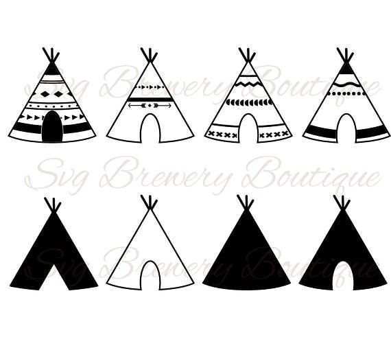 Teepee, tent, tribal, SVG (layered), PNG, DXF, Pdf,Eps for